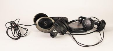 PAIR OF SENNHEISER HD 595 HEADPHONES, with support bracket and instruction leaflet, together with