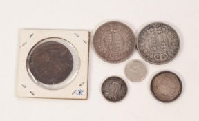 5 VICTORIAN SILVER COINS comprising two half crowns 1887 & 1889; a shilling and a sixpence 1887