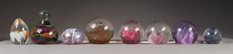 TWO CAITHNESS GLASS PAPERWEIGHTS, ?FIESTA? and ?PINK CHAMPAGNE?, both with stands and name cards,