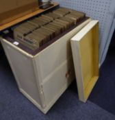 VINYL RECORDS JAZZ. A large selection of 78rpm records housed in a homemade wooden storage unit,