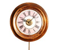 STAINED FRUITWOOD POSTMAN?S ALARM WALL CLOCK, circa 1900, of typical form with enamelled Roman