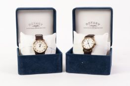GENT'S ROTARY 'WINDSOR' QUARTZ SWISS WRISTWATCH with 18k gold plate back and front, circular roman