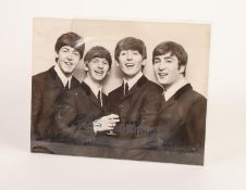 BLACK AND WHITE GROUP PHOTOGRAPHIC IMAGE OF THE BEATLES, half-length study with Ringo Starr