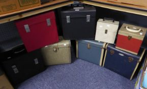 VINYL RECORD CASES. A collection of 8 VINTAGE, record storage carry cases for albums (x6) and