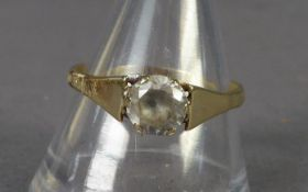 GOLD COLOURED METAL RING set with a solitaire white stone, 2.5 gms; a chip amethyst NECKLACE; 24ct