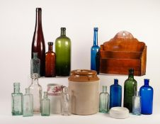 SMALL SELECTION OF VICTORIAN AND LATER GLASS BOTTLES, together with a SALT GLAZED POTTERY JAR and