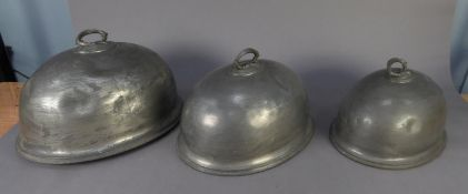 GRADUATED SET OF THREE ELECTROPLATED BASE METAL MEAT DOMES BY JAMES DIXON & SONS, each of oval