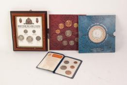FOLDER WITH 9 ENCAPSULATED PRE-DECIMAL COINS, VARIOUS DATES, a farthing to half crown, in slip