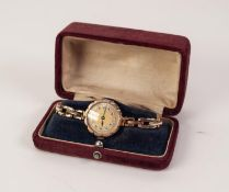 9ct GOLD CASED LADY'S WRIST WATCH, on expandable 9ct gold bracelet, hallmarked Birmingham 1924, 19.