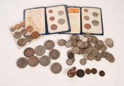 SMALL SELECTION ON COINAGE including a number of George VI and a few earlier SILVER FLORINS and