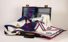 BRIEFCASE CONTAINING THREE MASONIC APRONS, on sash and gloves, the case numbered 4951