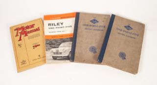 RILEY 'ONE-POINT-FIVE' DRIVER'S HANDBOOK, third and sixth editions, a RILEY 'ONE-POINT-FIVE' SALOONS