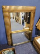 A LARGE BEVELLED EDGE WALL MIRROR, IN WOODEN GILT DECORATED FRAME (120cm x 90cm) and a SMALLER
