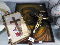 A WOOD AND GILT METAL CRUCIFIX, A CARVED BONE FIGURE OF THE MADONNA (A.F.) AND A FRAMED COLOUR PRINT