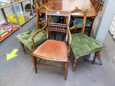 MAHOGANY INLAID OPEN ARMCHAIR AND A PAIR OF ANTIQUE SINGLE CHAIRS HAVING BUTTONED UPHOLSTERED