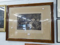 A LARGE BLACK AND WHITE PHOTOGRAVURE ?IN DOUBT?, IN CARVED OAK FRAME
