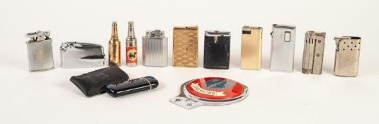 TWELVE VARIOUS POCKET CIGARETTE LIGHTERS, including FOUR RONSON examples, ANOTHER with enamelled
