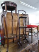 OAK STICKBACK SINGLE DINING CHAIR, OAK THREE TIER CAKE STAND AND A MAHOGANY JARDINIERE (3)