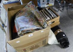 A SELECTION OF VARIOUS FABRICS AND MATERIALS AND A ROLL OF GOOD QUALITY VELVET AND ANOTHER ROLL OF