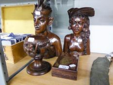 TWO BALINESE CARVED BUSTS OF MALE AND FEMALE, MAHOGANY BOX HAVING BRASS INLAY AND A BALINESE