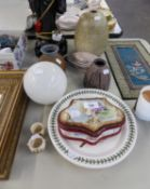 PICTORIAL PORCELAIN JEWELLERY BOX, FOUR STUDIO POTTERY ITEMS, TWO PLATES, GLASS LIGHT SHADE AND