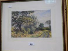 A PASTEL DRAWING OF A COUNTRY LANE WITH TREES AND GATE IN THE DISTANCE, BY GEORGE ANDERSON- SHORT (