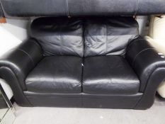 BLACK LEATHER TWO SEATER SOFA, WITH FITTED CUSHIONS