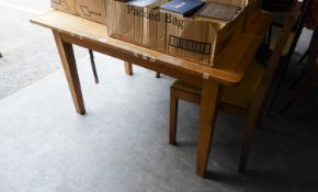 A DRAUGHTSMAN'S LIGHT OAK DRAWING TABLE AND A SINGLE CHAIR