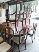 A MODERN HONG KONG ACQUIRED EXTENDINGH DINING TABLE WITH SIX DINING CHAIRS (4 +2) (7) (ONE CHAIR A.