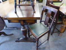 A SET OF FOUR 1930?s OAK DINING CHAIRS WITH SPLAT BACKS, DROP-IN SEATS, ON BULBOUS FRONT SUPPORTS