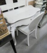 WHITE HIGH GLOSS SERPENTINE FRONTED DRESSING TABLE, RAISED ON SCROLL CABRIOLE LEGS, WITH SINGLE