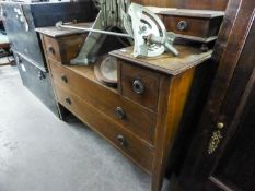 AN EDWARDIAN INLAID MAHOGANY SUNK-CENTRE  DRESSING TABLE, WITH FRAMED TRIPLE MIRRORS (ONE DRAWER