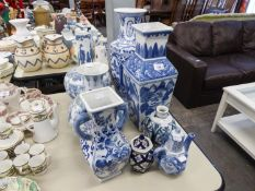 BLUE AND WHITE ORIENTAL POTTERY TO INCLUDE; A SQUARE SHAPED VASE, 43cm high, ALSO A BULB SHAPED