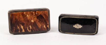 "19th CENTURY BLACK LACQUERED PAPIER MACHE OBLONG SNUFF BOX with pewter inlay 2 3/4"" x 1 1/4"" (6.9"