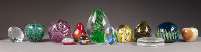 TWELVE MODERN GLASS PAPERWEIGHTS, including, a PROBABLY SWAROVSKI EXAMPLE intaglio cut with a