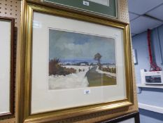 AN OIL PAINTING OF A COUNTRY LANE WITH BUILDING, TREES AND A FIGUREBY MICHAEL CURGENVEN (38cm x