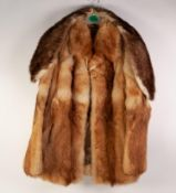 LADY'S SHADED LIGHT BROWN FOX FUR JACKET, the shawl collar with short reveres, single breasted