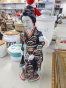 "JAPANESE PORCELAIN FIGURE OF A GEISHA, 14"" HIGH"