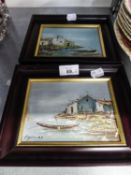 A PAIR OF SMALL GREEK OIL PAINTINGS
