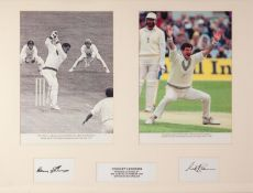 ?CRICKET LEGENDS? POSTER WITH AUTOGRAPHS FOR SIR GARFIELD SOBERS and SIR RICHARD HADLEE, each on