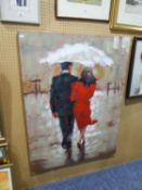 A MODERN OIL PAINTING ON CANVAS OF A COUPLE UNDER AN UMBRELLA, (UNSIGNED)