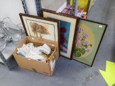 TWO NEEDLEWORK TAPESTRY PICTURES OF FLOWERS, A COLOUR PRINT, LANDSCAPE AND A SMALL BOX OF TABLE
