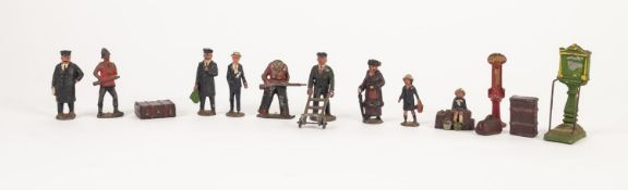 SELECTION OF VINTAGE DIE CAST METAL '0' GAUGE FIGURES, ETC., MAINLY RELATING TO RAILWAYS to