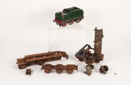 STEEL SCRATCH BUILT 'O' GAUGE SIX WHEEL TENDER IN GREEN LIVERY, with copper pipework for