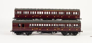 TWO KIT BUILT 'O' GAUGE NON CORRIDOR PASSENGER COACHES in maroon L.M.S. livery viz all third (
