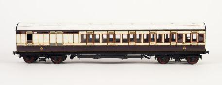 KIT BUILT MODEL 'O' GAUGE OF AN LNWR nine corridor passenger coach third-brake in brown and cream