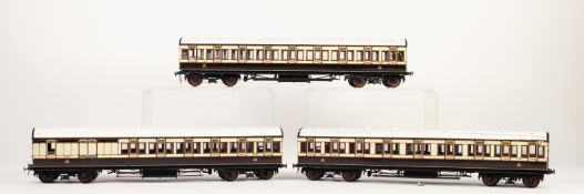 RAKE OF THREE KIT BUILT 'O' GAUGE NON CORRIDOR PASSENGER COACHES, in L.N.W.R. cream and brown with