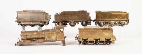 FOUR VARIOUS KIT BUILT 'O' GAUGE BRASS MODELS OF SIX WHEEL LOCOMOTIVE TENDERS, (unpainted, fair