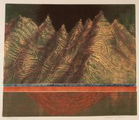 NORMAN JAQUES (1922-2014) TWO COLOUR PRINTS ?The Badlands?, signed and titled 15? x 17 ¾? (38cm x