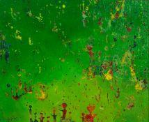ROQUE MENAGLIO (TWENTIETH CENTURY) OIL ON BOARD ?Algo Mueve en Tacita Armonia? (Something Moves in